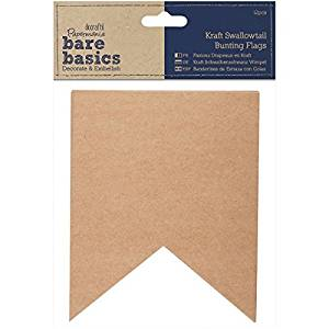 docrafts Papermania Bare Basics Kraft Bunting/Pennant Flags Kraft Swallowtail by DOCrafts