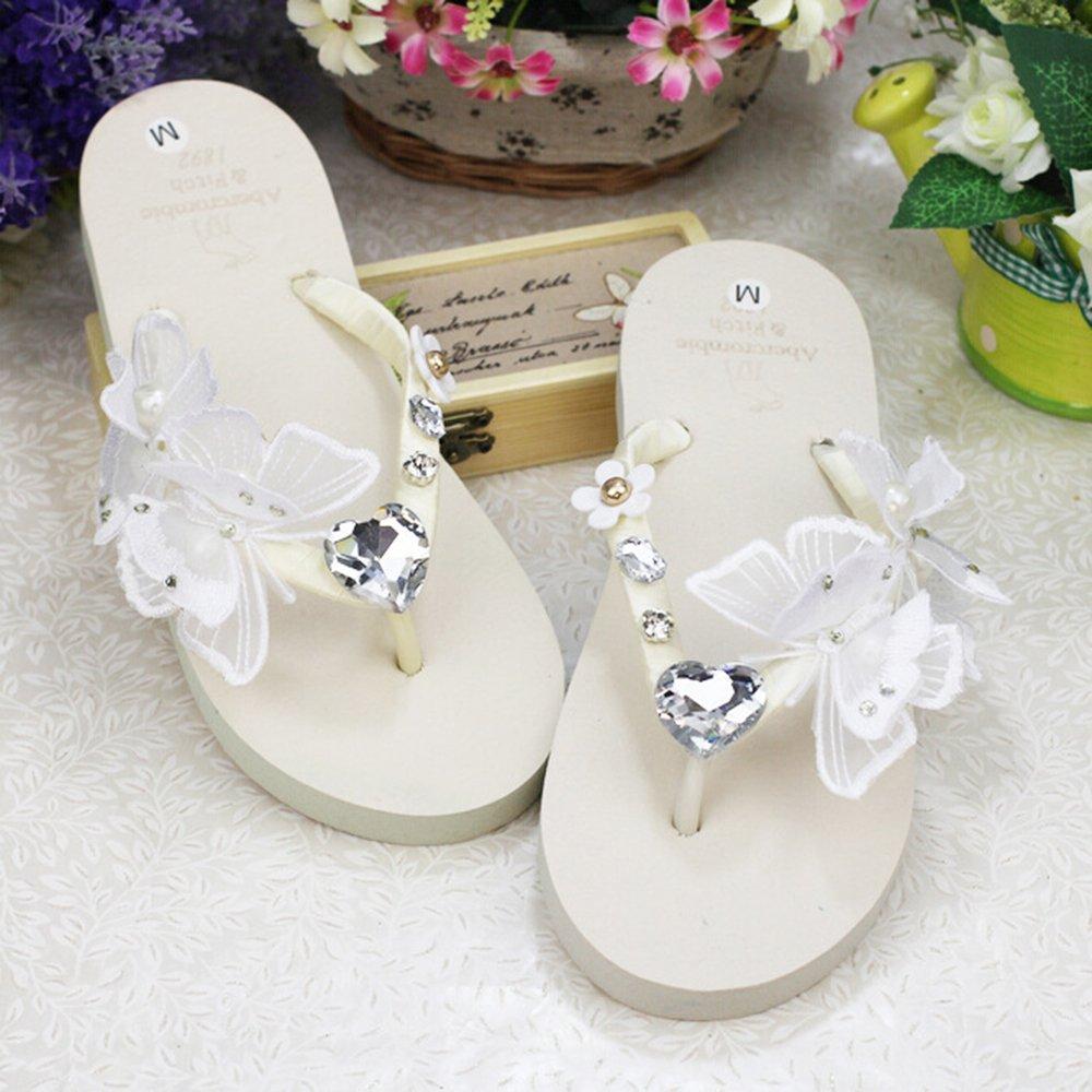 KAKA(TM) Women's Fashion Rhinestone Glitter Studded Crystal Flower Thong Sandals Flip Flops Sandals¨White Size 39-40