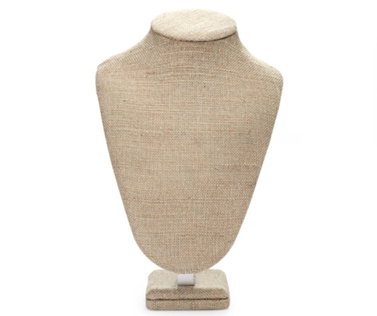 Top Grade Burlap Wooden Bust Mannequin Pendant Display Rack Necklace Holder Jewelry Display Stand Busts Showcase