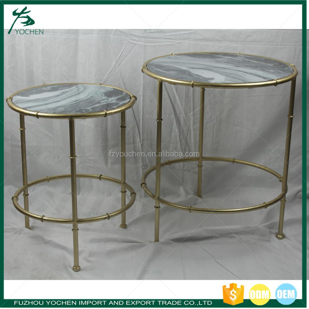 Cheap and Nice Faux Marble Top Design Metal Base Tea Table Living Room Table