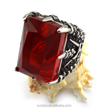 Vintage Viking Crystal Ring Big Red Crystal Stone Stainless Steel Party Jewelry Ring