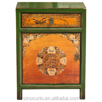 Chinese antique painting wooden nightstand antique bedside table cabinet furniture