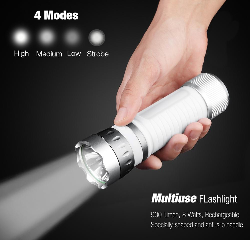 900 lumens Multifunction 2600mah Waterproof USB Rechargeable Power Bank LED Torch Light Plastic Outdoor Flashlight