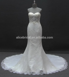 6720 lace decorate sweetheart neckline mermaid wedding dress for bridal
