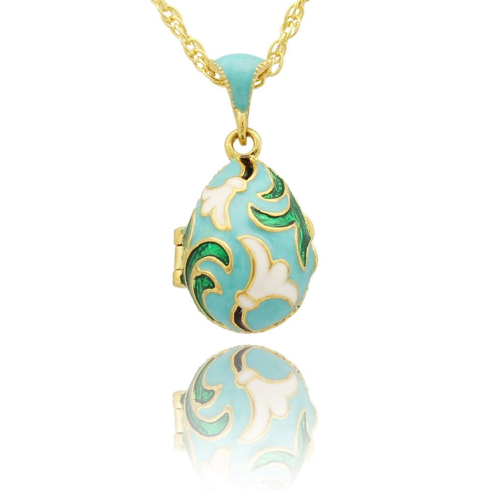 MYD Jewelry White Enameled Flower Faberge Egg Locket Pendant Necklace