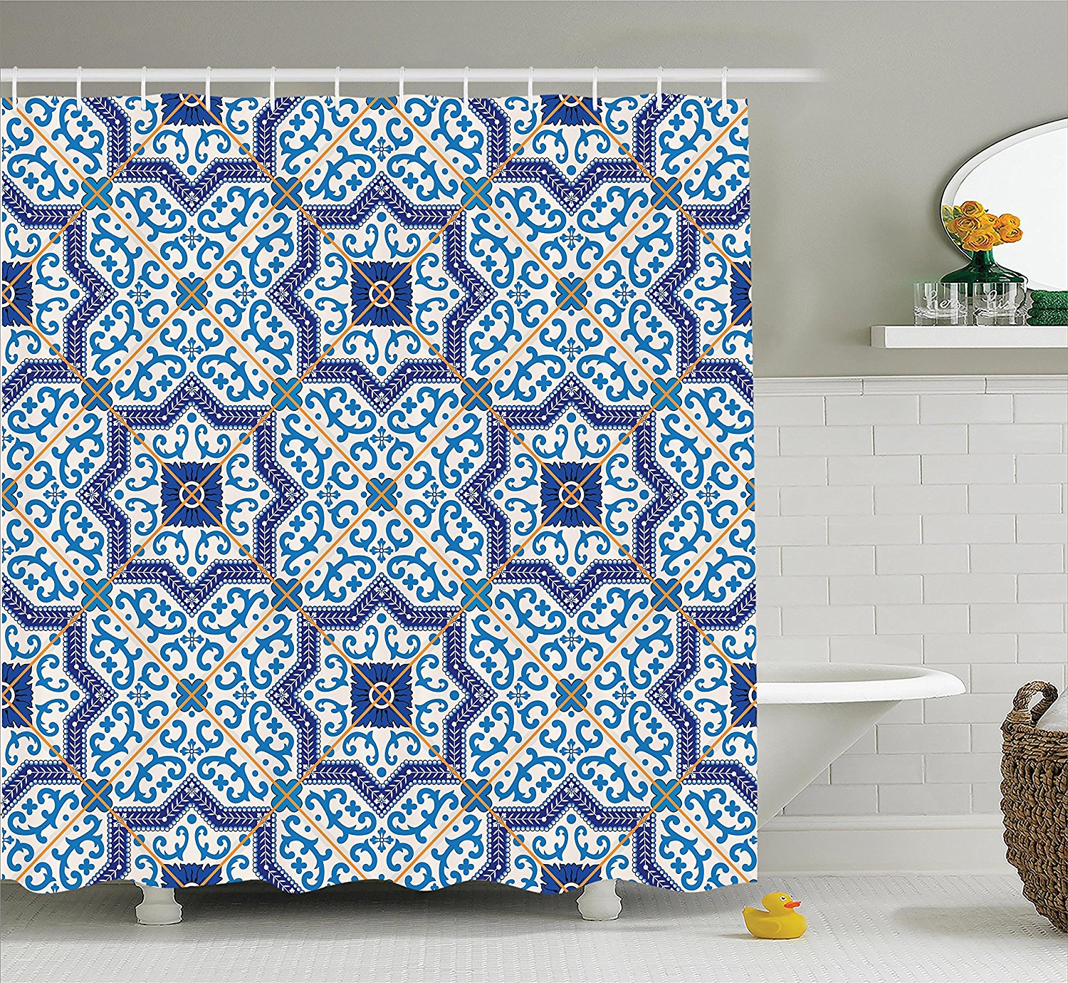 Ambesonne Moroccan Decor Collection, Moroccan Portuguese Style Classic Tiles Ornaments Islamic Historical Buildings Art, Polyester Fabric Bathroom Shower Curtain Set with Hooks, Blue White