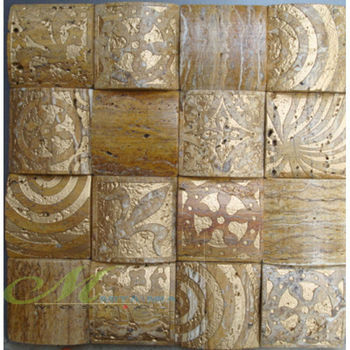 French Goldensculpture Mixed Paste Arch Stone Mosaic Floor Tile