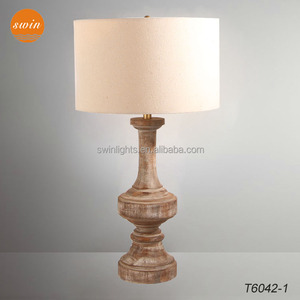 New Mediterranean vintage wood table lamp base,linen drum shade hotel desk lamp in china