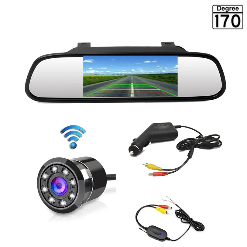 "3U-80151 Wireless 4.3"" Car Rear View Mirror Monitor With Mini Backup Camera 8 LED 170 Degree Night Vision Waterproof Car-styling"