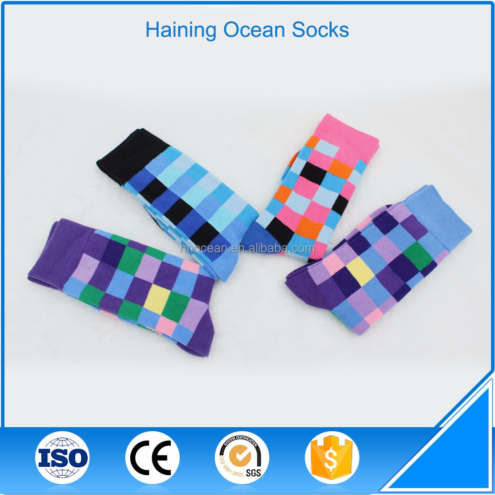 Color block pattern fashion breathable fancy mens socks for UK & USA