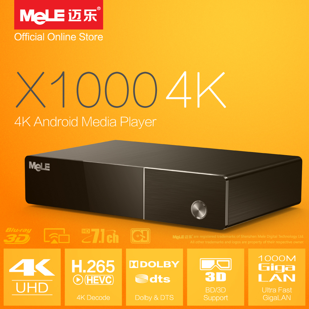 MeLE X1000 4K  Android Media Player Realtek 1195 4K Display H.265 HDMI 1.4 ISO 3D BDMV SAMBA Stream Dolby DTS 7.1 XBMC Add-ons