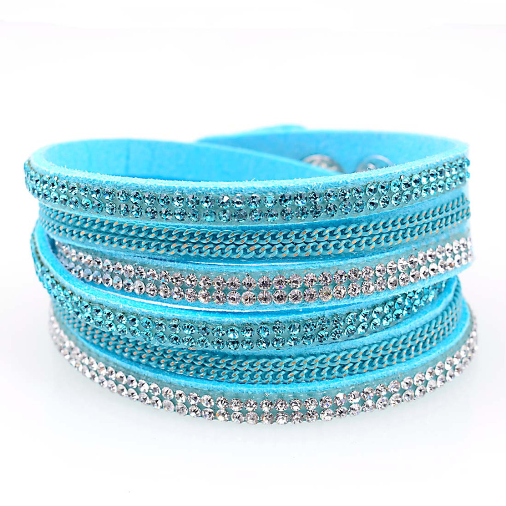 Get Quotations Double Wrap Leather Bracelet Crystal Bling And Chain Bracelets Three Multilayer