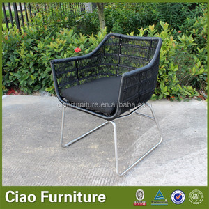 Black round wicker metal outdoor string chair
