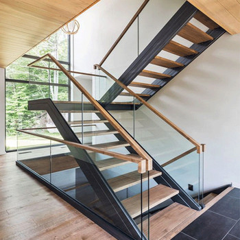 Customized Modern Teak Stair Treads Mono Steel Stringer Wood Staircase -  Buy Steel Wood Staircase,Teak Staircase Treads,Modern Wooden Stairs And  Steps