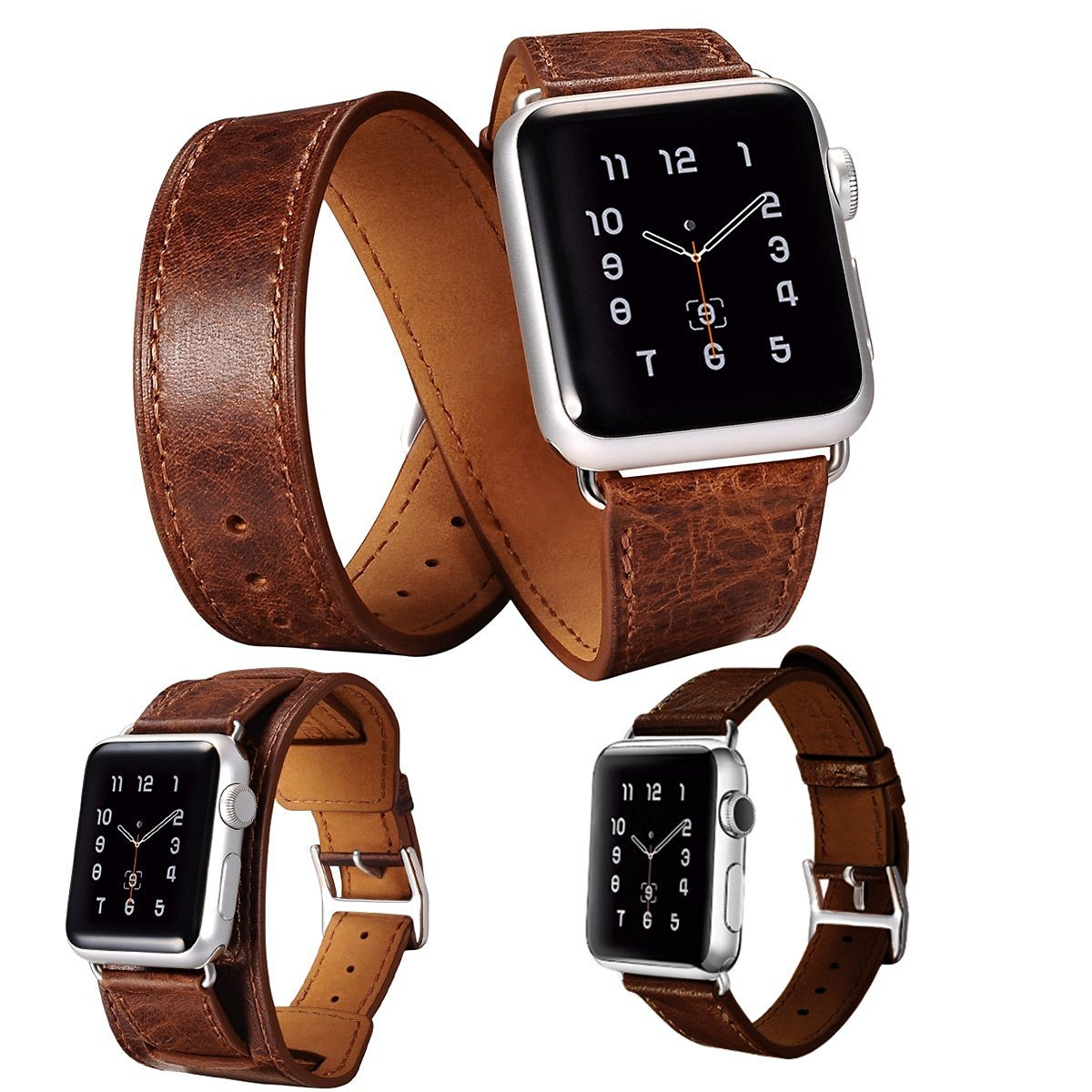3 in 1 Apple Watch Leather Cuff Band, Lecxci Mens/Womens Retro Real Cowhide Leather [Bracelet/Single/Double Loop Strap] iWatch 38 mm / 42 mm Band for Apple iWatch 38 mm / 42 mm (Coffee 38mm)