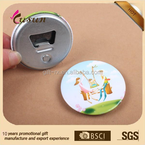 promotional gift souvenir round tin button badge bottle opener