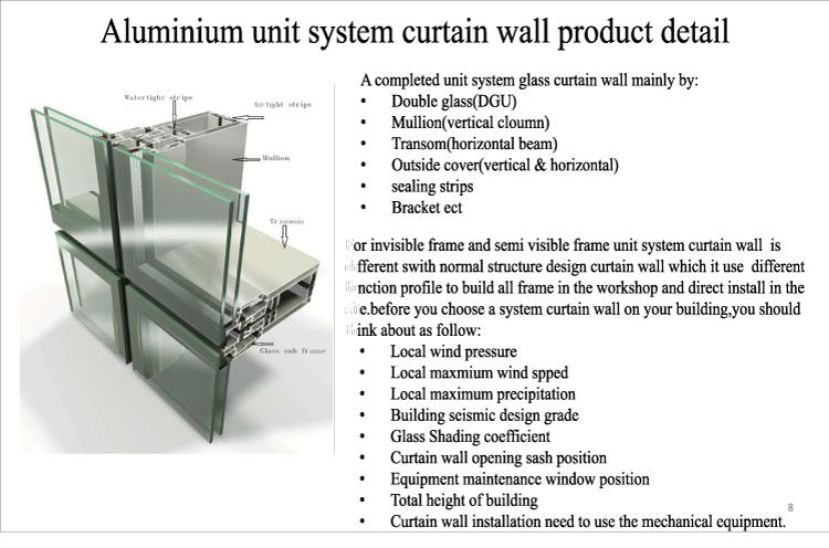 Building Exterior Reflective Low E Glass Facade Aluminum