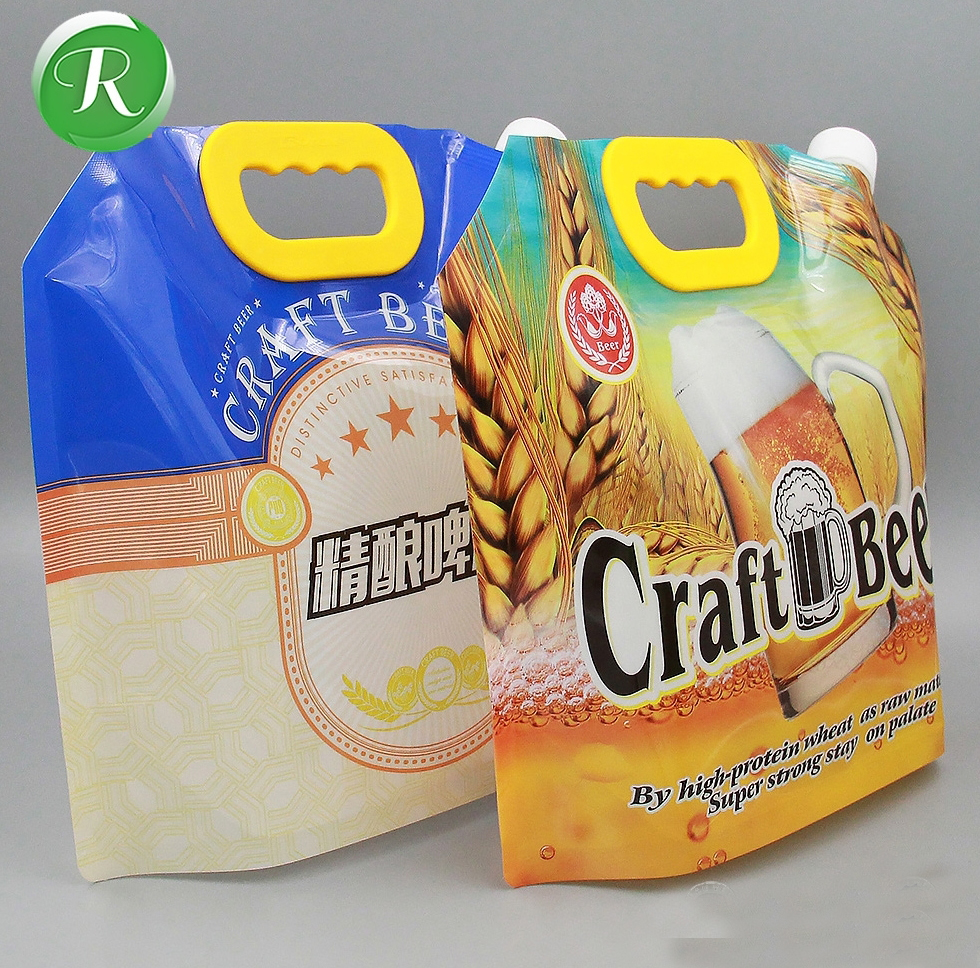 Custom printed 5L water/beer/wine/liquid packaging spout pouch with handle