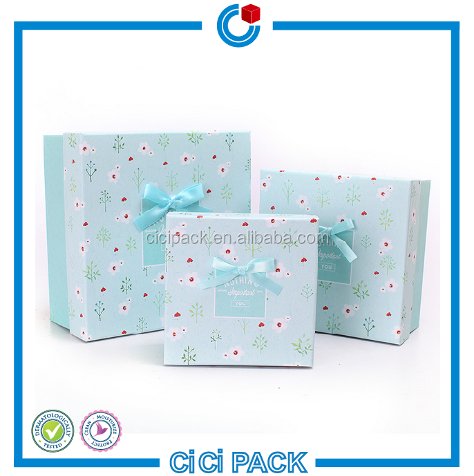 Custom Valentine wedding gift boxes light blue High-grade cosmetic square gift <strong>packing</strong>