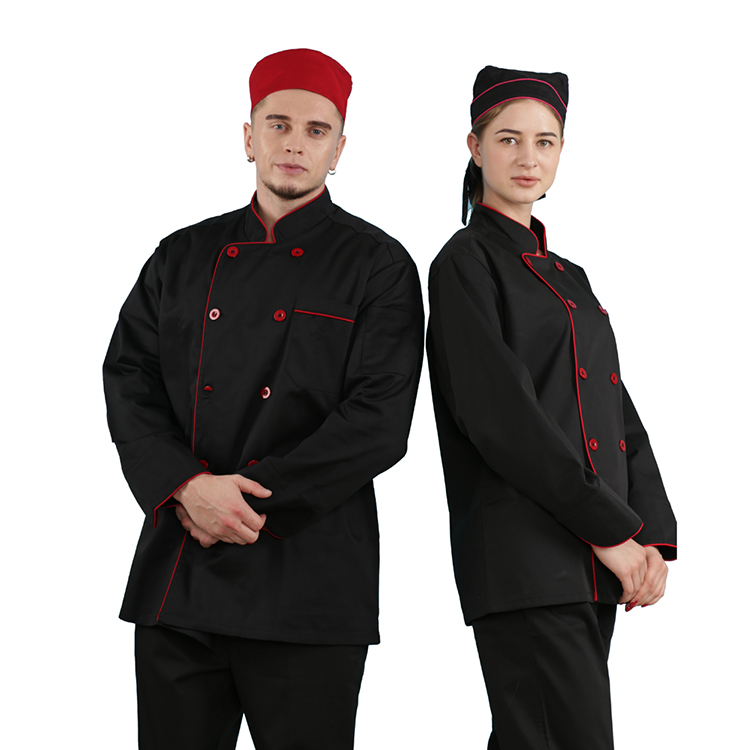 Uniformen restaurant manager ober jas met voor koken hoed custom black chef uniform ontwerp