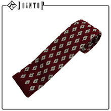 High quality red wholesale straight cut end cheap point knit tie