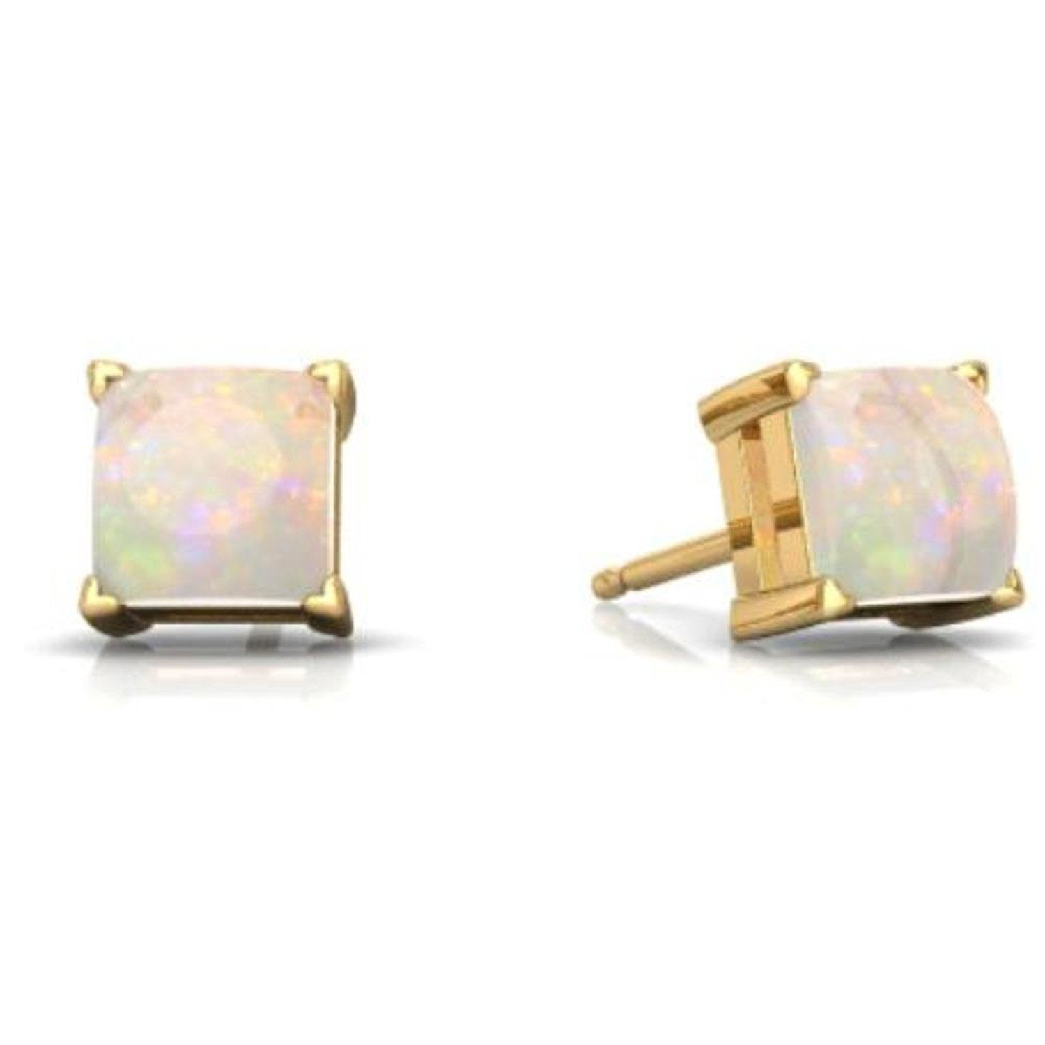 Simulated Opal Princess Cut Stud Earrings 14Kt Yellow Gold & Sterling Silver