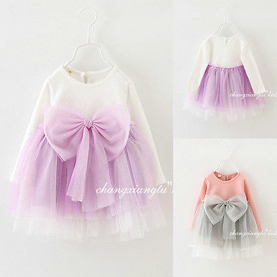 2016 Baby Girl Princess Party Bowknot Bow Tulle Flower Gown font b Fancy b font font