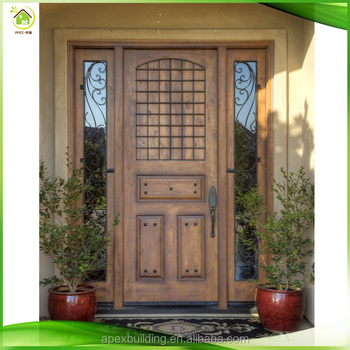 German Residential Front Rustic Solid Wood Doors With Sidelights