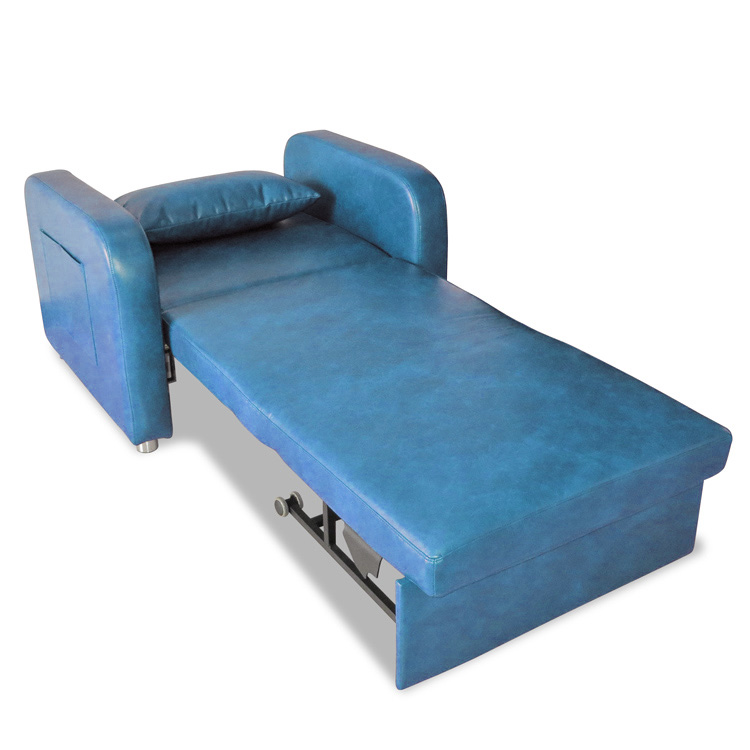 Leather Convertible Pull Out Hospital Sleeper Chair Sofa Bed For