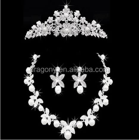 Charming Wedding Bridal Jewelry Sets Rhinestone Crystal Tiara Necklace Earrings