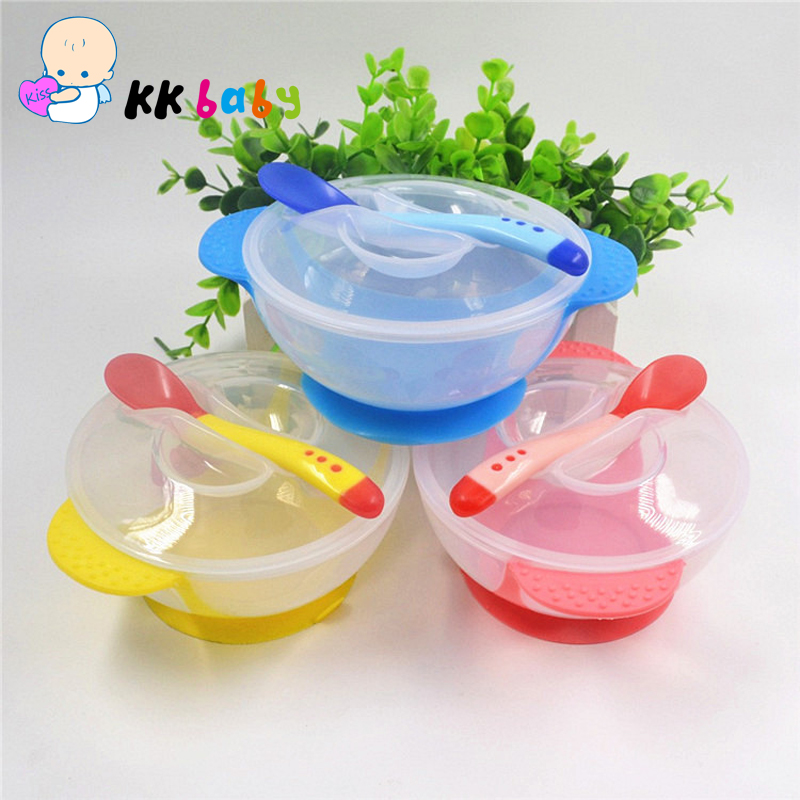 Toddler Baby Bowl Child Feeding Lid Training Bowl with Spoon Cartoon Binaural Baby Feeding Tableware Children Bowl Plate