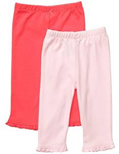 Carter's Baby Girls' 2-Pack Pants - Pink/Poppy - 3 Months Color: Pink/Poppy Size: 3 Months NewBorn, Kid, Child, Childern, Infant, Baby