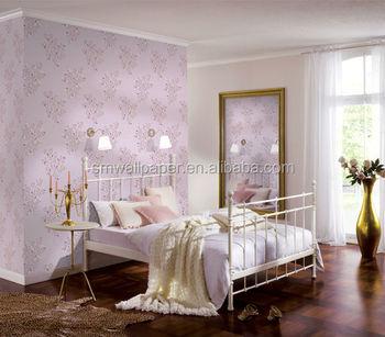 Nieuwste Licht Paars Modern Bloemen Pvc Behang Voor Slaapkamer ...
