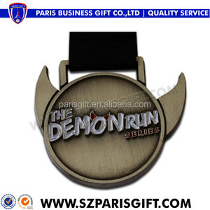 antique black metal the Demon run medal series with angle horn