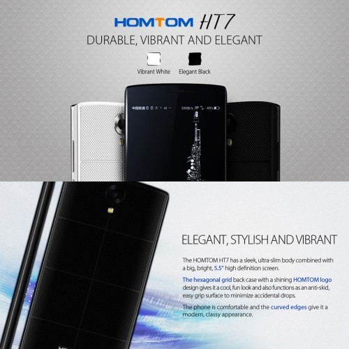 Newest wholesales HOMTOM HT7 8GB, 4G phone,5.5 inch Android 5.1 MTK6580A Quad Core 1.0GHz, RAM:1GB(Black)