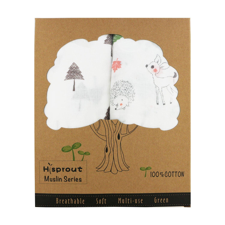Hi Sprout Unisex Super Soft 47 Inch x 47 Inch Cotton Muslin Swaddle Blanket Set+ 2pcs Baby Washcloth(Animal Jungle)