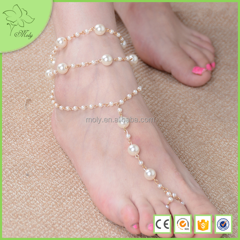 Fashion New Design Pearl Alloy Anklet Chain Foot Sandals Body Jewelry
