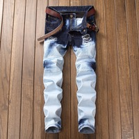 HIgh Quality Printed Skinny Mens BIker Jeans White Color Washed Denim Pants