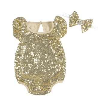 New design wholesale sequins romper for toddler girls both side sequins romper for baby girl