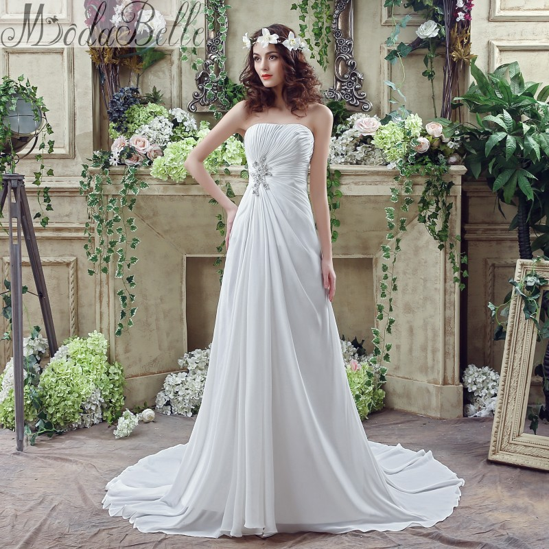 Summer 2016 Chiffon A Line Casual Beach Wedding Dress Boho