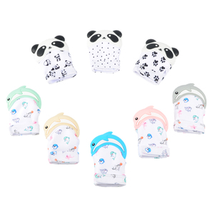 2018 New Product BPA Free Baby Chewing Silicone Teething Mitten Animal Gloves