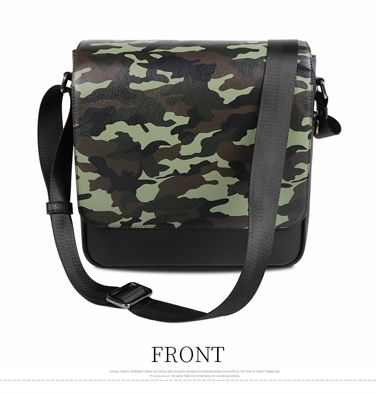 Wholesale casual Camouflage fashionable men PU messenger bag  shoulder bag