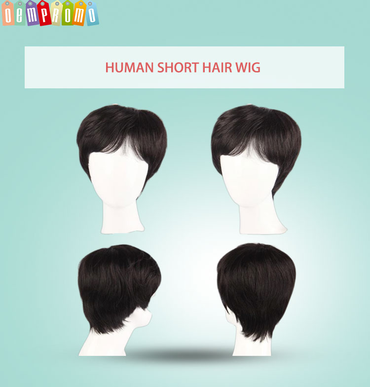 Promo human wig sheath hand tied wig piece hair replacement custom style short wigs tool for man as gift in black brown color