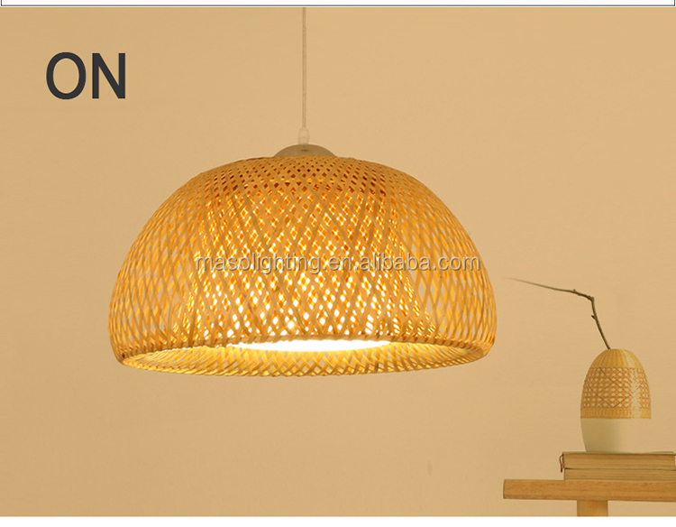 Chinese traditional bamboo cage pendant light natural wood restaurant pendant lamp