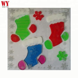 Christmas Customized Various Color Stockings Soft Jelly Gel Clings Decor Glass Window Sticker