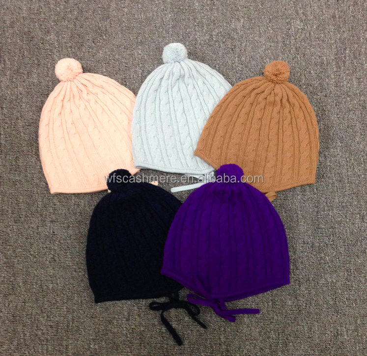 New all colours bonnet 100% cashmere cable knitted hat beanies for baby and newborn