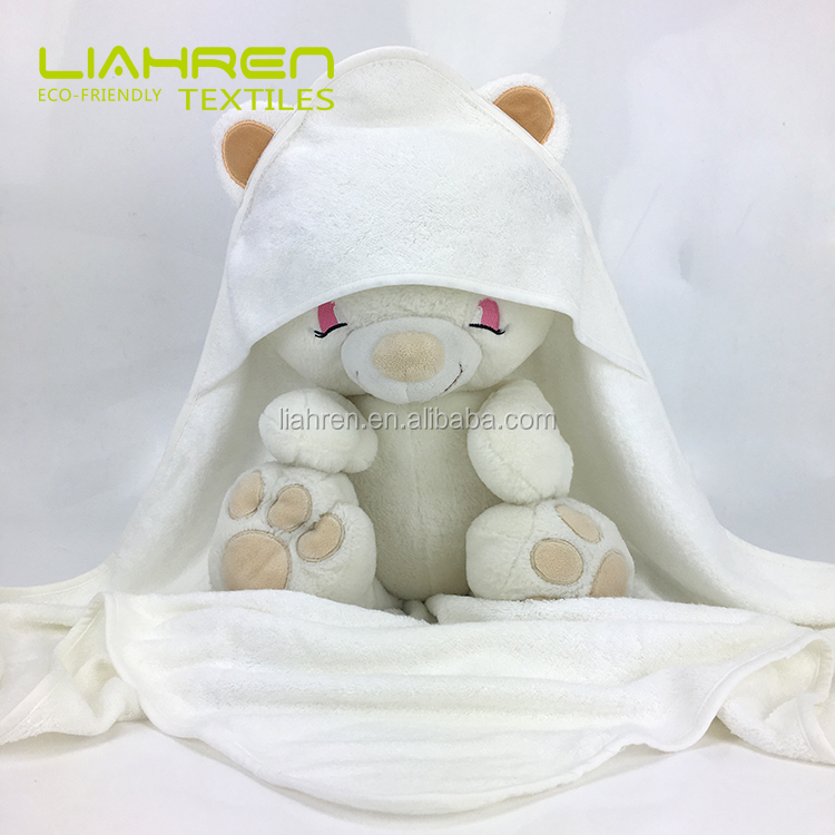 Absorberende biologische bamboe baby hooded handdoek met cartoon in 500gsm