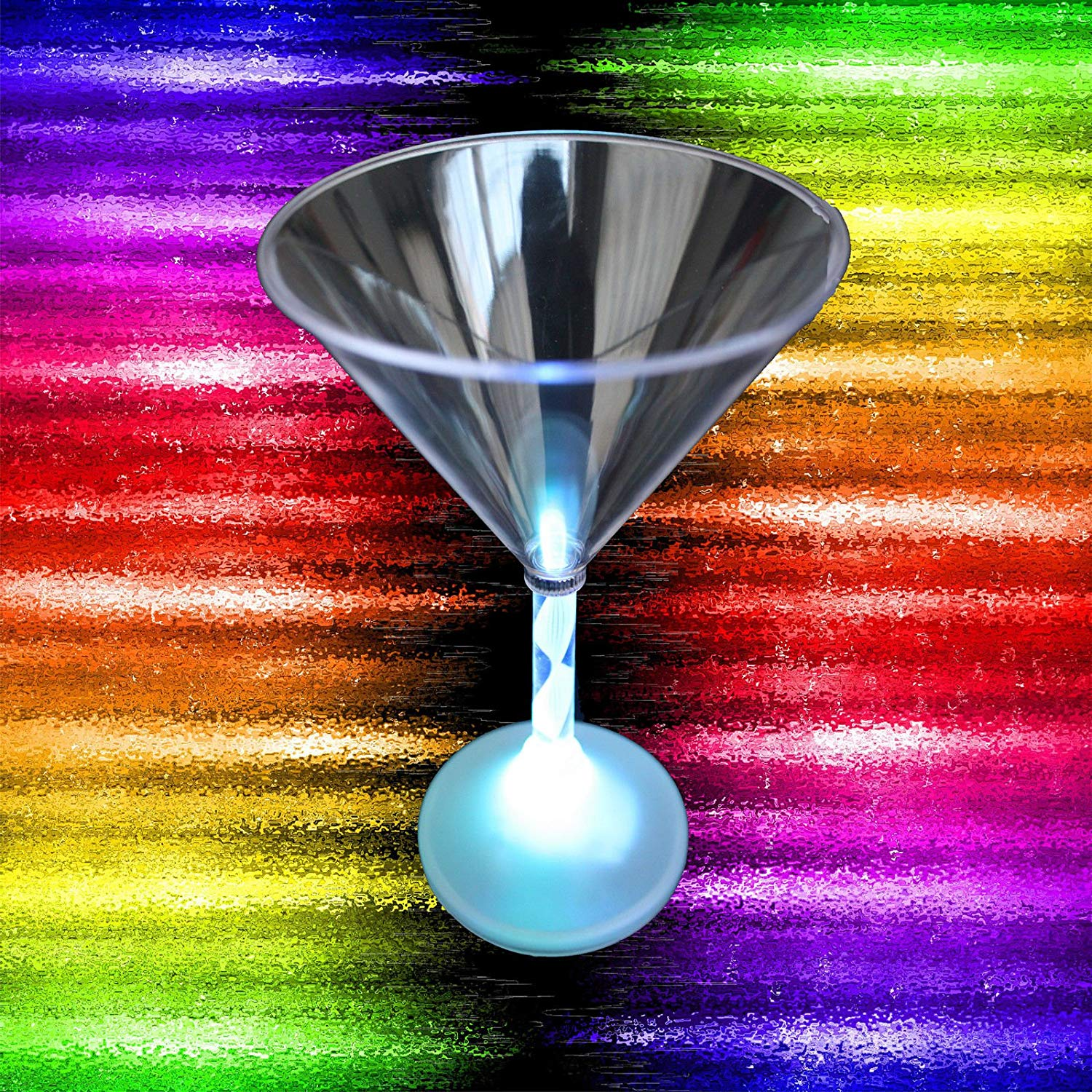 10pk-Blinking Rainbow Color-LED LIGHT UP GLOW MARTINI GLASS-Birthday Party Drink