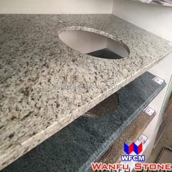 Hotel Golden Yellow Commercial Granite Prefab Double Sink Bathroom Vanity  Top