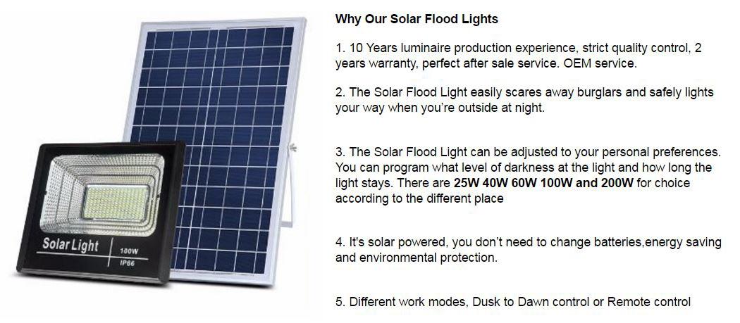 IP67 atardecer al amanecer activado JD Industrial cartelera exterior iluminación seguridad 100W 200W 300W LED luces de inundación Solar